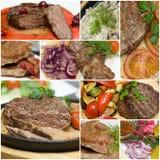 Gastronomische vleescollage - rundvlees, kalfsvlees en varkensvlees Royalty-vrije Stock Fotografie