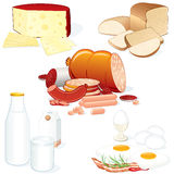 Gastronomy. Set of detailed food illustrations (Meat, Cheese, Milk, Bread etc) all objects separated and groupped Stock Photography