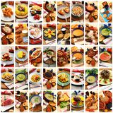 Gastronomy collage in white background. Gastronomy collage on white background Royalty Free Stock Image