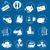Gastronomy, food symbols for Supermarket, vector. Gastronomy and food symbols for Supermarket on blue, vector Royalty Free Stock Photo