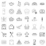 Gastronomy icons set, outline style Royalty Free Stock Photos