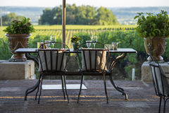 Gastronomy-Restaurant - Luxury -Terrace in summer - Vineyard Royalty Free Stock Photo