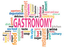 Gastronomy tag cloud Stock Images