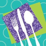 Gaststätteauslegung mit Tischbesteckschattenbild Lizenzfreies Stockbild