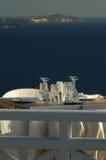 Gaststätteeinstellung Oia-Stadtsantorini Griechenland Stockbild