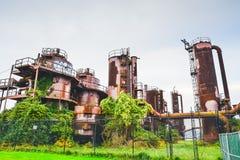 Gaswerk parkt im sonniger Tagesfast Sonnenuntergang, Seattle, Washington, US Lizenzfreies Stockbild