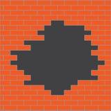 Gat in bakstenen muursinaasappel Royalty-vrije Stock Afbeelding