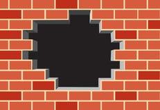 Gat in de bakstenen muur Royalty-vrije Stock Fotografie