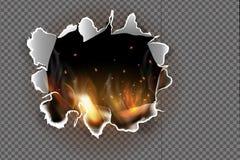 Gat in gescheurd document met gebrand wordt gescheurd en vlam op transparante achtergrond die vector illustratie