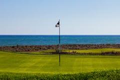 Gat op een golfcursus Royalty-vrije Stock Foto
