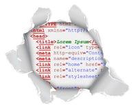 Gat in webpage Stock Foto