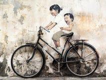 Gata Art Mural i Georgetown, Penang, Malaysia royaltyfri bild
