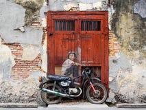 Gata Art Mural i Georgetown, Penang, Malaysia arkivfoton