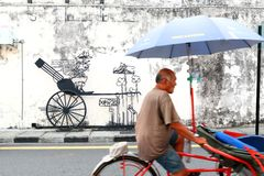 Gata Art Mural i Georgetown, Penang, Malaysia Arkivfoto