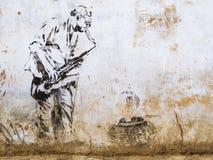 Gata Art Mural i Pushkar, Rajasthan, Indien Royaltyfria Foton