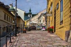 Gata av Andreja Kmeta på Banska Stiavnica Fotografering för Bildbyråer