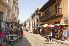 Gata av Cartagena de Indias colombia fotografering för bildbyråer