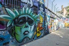 Gata av grafitti i Ghent, Belgien Arkivfoton