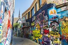 Gata av grafitti i Ghent, Belgien Royaltyfri Bild