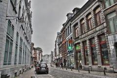 Gata av Mons i Belgien Royaltyfria Bilder