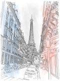 Gata av Paris och Eiffeltorn Arkivbild