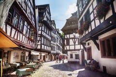 Gata av Petit-Frankrike - del av den gamla staden, Strasbourg, Frankrike, Royaltyfri Foto