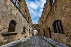 Gata av riddare, Rhodes, Grekland Fotografering för Bildbyråer