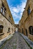 Gata av riddare, Rhodes, Grekland Arkivbild