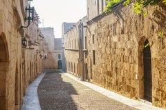 Gata av riddarna i Rhodes, Grekland Fotografering för Bildbyråer