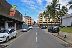 Gata av Rue de Sebastopol på Noumea, Nya Kaledonien Arkivfoto