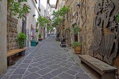 Gata av staden Orvieto, Italien, Toscana Arkivbilder