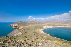 Gata Cape with Amarillos and Genoveses beaches from top of mountain in Almeria stock images