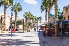 Gata för El Jazzar i fästningen i den gamla staden av tunnlandet i Israel Arkivfoton