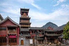 Gata för Hunan Zhangjiajie Wulingyuan flodtorkduk Arkivbild