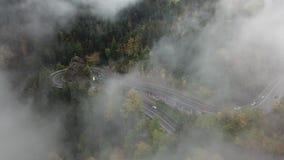 Gata från den ovannämnda ho en dimmig skog på hösten, flyget för flyg- sikt till och med molnen med dimma och träd lager videofilmer