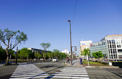 Gata i Akita, Japan Royaltyfri Foto