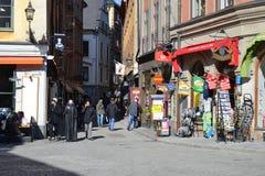Gata i centaldel av Stockholm Royaltyfria Bilder