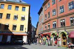 Gata i centaldel av Stockholm Royaltyfri Fotografi
