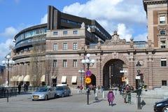 Gata i centaldel av Stockholm Arkivfoto