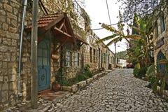 Gata i den gamla staden Rosh Pina arkivfoto