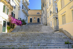 Gata i den Korfu staden, Grekland Fotografering för Bildbyråer