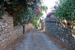 Gata i gamla Datca, Mugla, Turkiet Arkivfoto