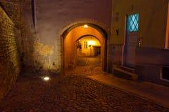 Gata i gammala Tallinn vid natt Arkivfoton