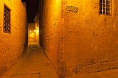Gata i Mdina Malta Arkivbilder