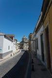 Gata i mitt av Faro, Algarve, Portugal Fotografering för Bildbyråer
