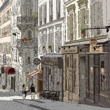 Gata i Montmartre stock illustrationer