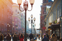 Gata i Moskva Arbat Royaltyfri Bild
