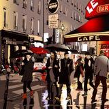 Gata i Paris på natten royaltyfri illustrationer