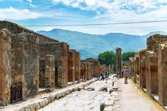Gata i Pompeii, Italien Royaltyfria Bilder