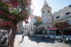 Gata i Taormina Royaltyfria Bilder